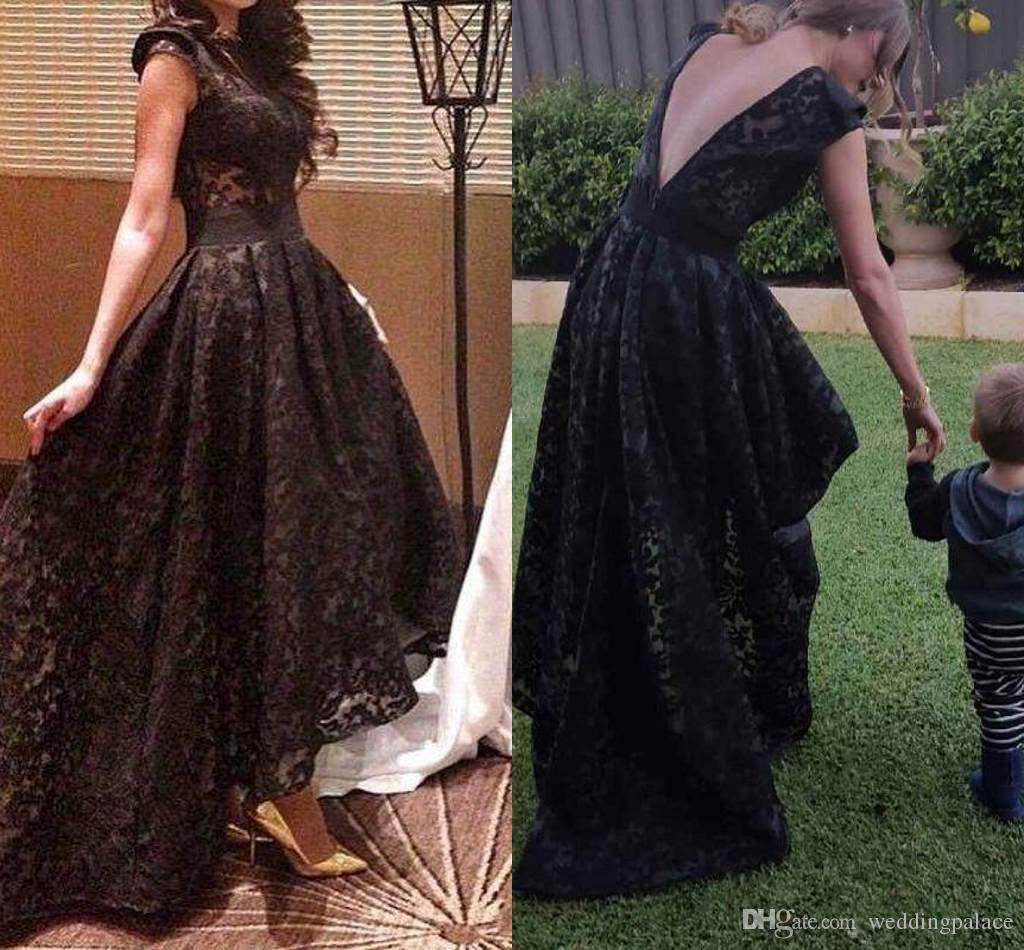 c4004474a4d Shrug Shoulders Black Lace High Low Prom Dresses A Line Sleeveless Semi  Formal Occasion Gowns Custom Made Party Dresses Prom Dress Shops In London  Prom ...