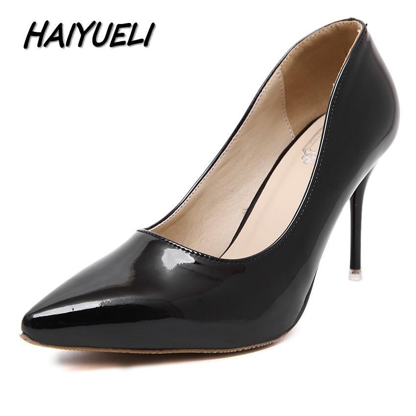 4ea3f0bec Compre Haiyueli 2019 Novas Mulheres Bombas Sapatos De Mulher De Salto Alto  Sapatos De Moda Festa Vestido De Noiva Sólidos Stilettos Zapatos Mujer  Tacon De ...