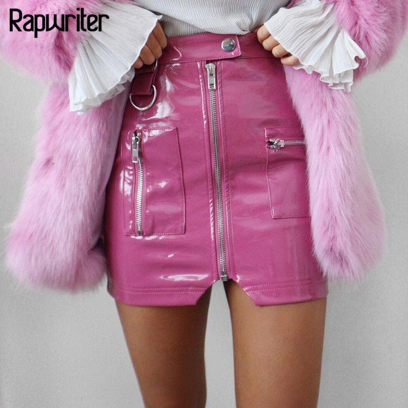 e5da6102650828 Rapwriter Sexy Taille Haute Pu En Cuir Jupes Femmes 2018 Slim Zipper Pocket  Summer Mode Mini Streetwear Crayon Jupes Saias J190514