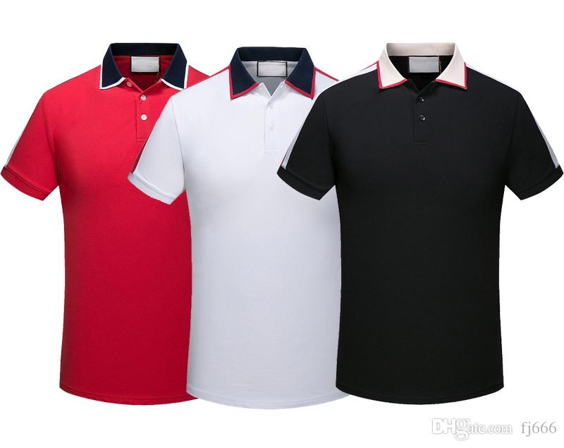 2470888887 Compre 2019 Marca Novos Homens Camisas Polo T Snake Abelha Floral Bordado  Mens Polos Camisa Design De Manga Curta Moda Casual Camisa Polo De Fj666