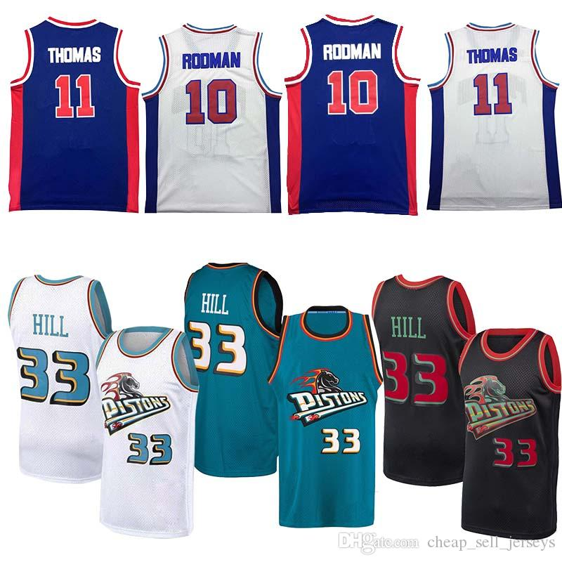 online store 4489a 8b49d Detroit jersey 33 Hill 11 thoma 10 rodman Pistons Grant basketball jersey  men