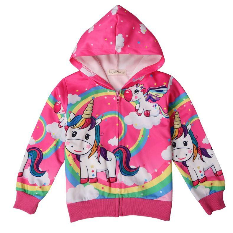 545f0c89b56b Zip Hoodie Girls Long Sleeve Cotton Unicorn Jacket Pink Rainbow ...