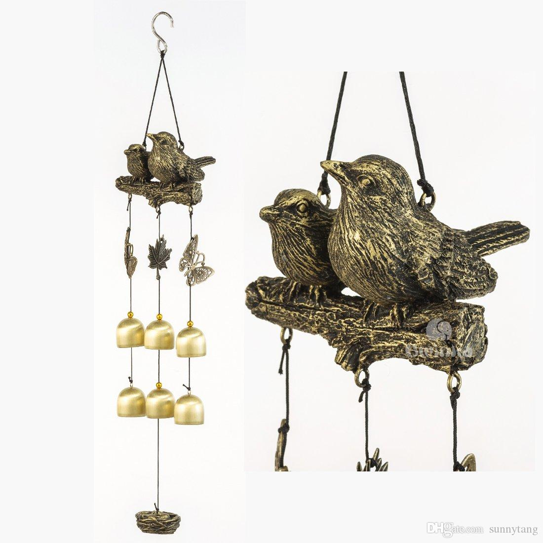 Bwinka Neueste Vogel Windspiel 6 Stuck Bronzeglocken Erstaunliche Gnade Windspiele Fur Garten Hof Terrasse Und Inneneinrichtungen Mit Haken
