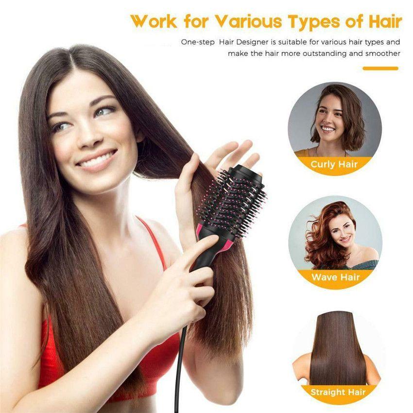 Dropshipping Hair Brush One-Step Hair Dryer Volumizer Negative Ion  Generator Hair Curler Straightener Styling Tools