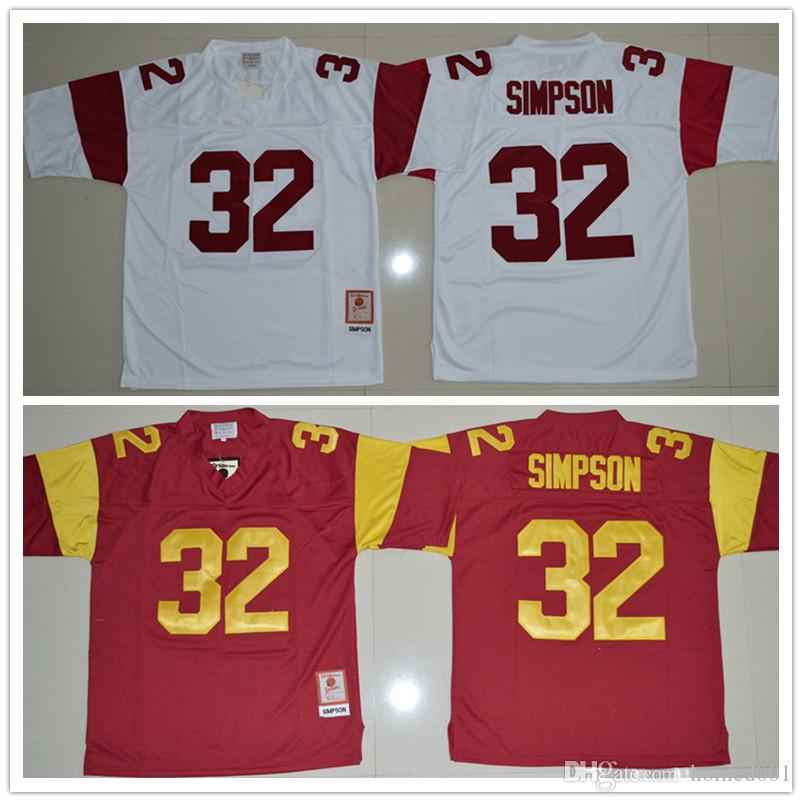 2017 Top Selling O.J Simpson USC Trojans Jerseys 32 O.J Simpson Jerseys Red White College football Jerseys free shipping