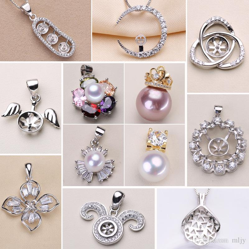 Wholesale Pearl Necklace Settings 925 Sliver Pendant 12 Styles Pearl Necklace for Women Girl Fashion Jewelry diy Wedding Gift