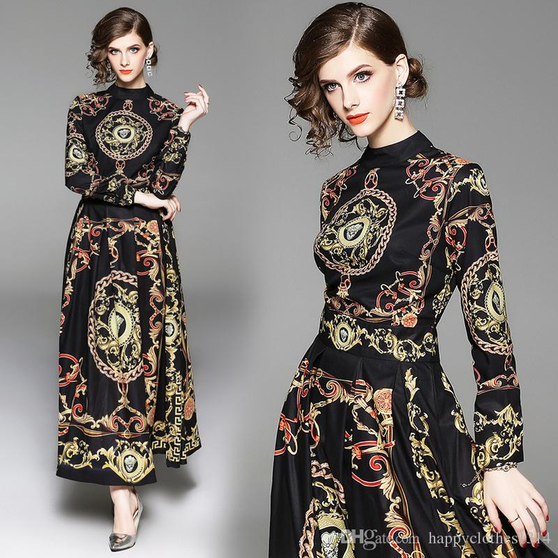 New Runway Women's Baroque Floral Print Button Front Turtle Neck Pleated Dress Office Ladies Sexy Slim Empire Waist Party Evening Dresses