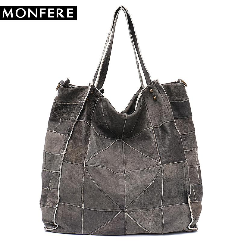 15e543da4c87 2019 Fashion MONFERE Vintage Leather Women Big Tote Bags Real Leather  Messenger Shoulder Bags Female Large Quilted Woman Bag Genuine Leather Mens  Shoulder ...