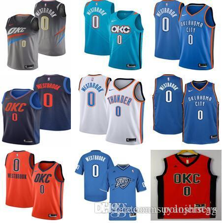 another chance f5461 cee72 Men's Oklahoma City 0 Russell Westbrook Jersey 2018 Thunders New Basketball  Jerseys Stitched City jerseys
