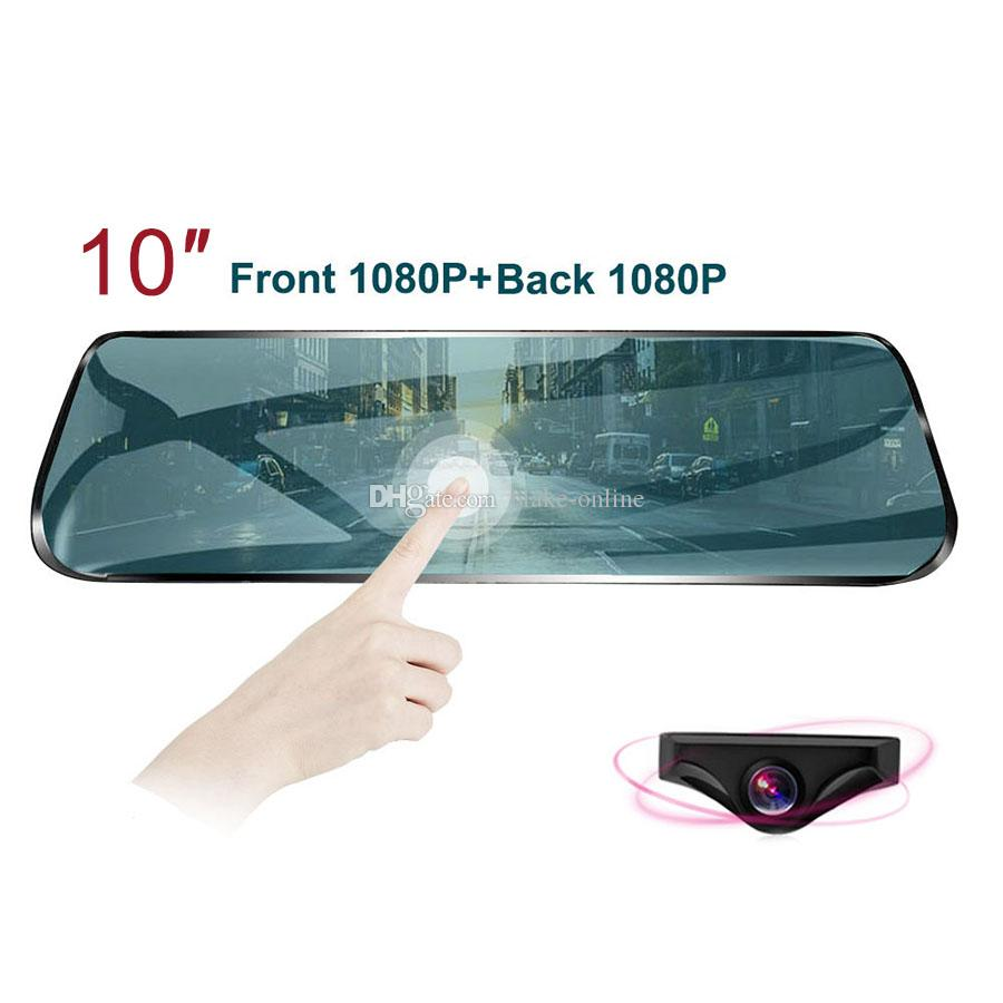 10 Rear View Mirror Car DVR Streaming Media Full Screen Touching Dual Lens  Night Vision 1080P Video Recorder
