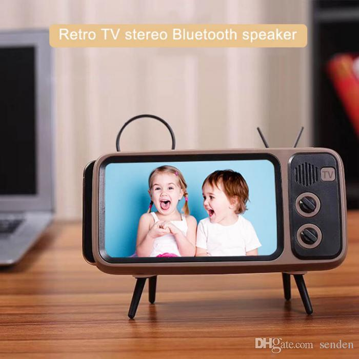 Retro TV Stereo Bluetooth Speaker with mobile phone holder Support USB TF card player TV stand wireless subwoofer photo frame Bracket PTH800