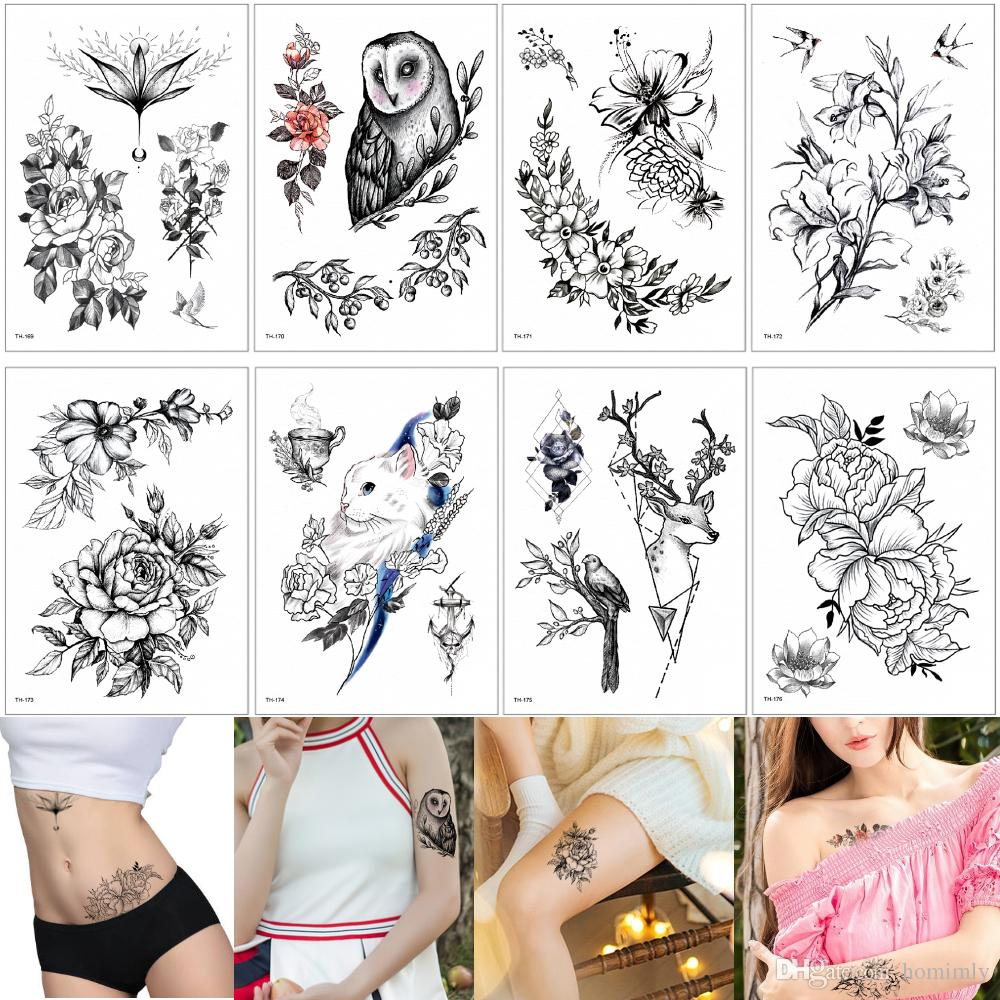 Falso Preto Florescente Flor Temporária Corpo Tatuagens Etiqueta À Prova D  Água Pintura para Mulheres Homens Braço Para Trás Pulso Arte Tatuagem