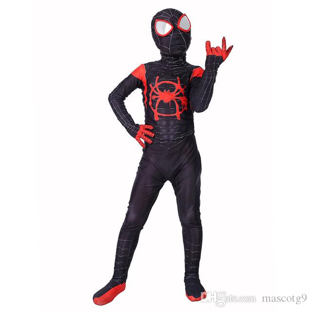 US !Spider-Man Into the Spider-Verse Miles Morales Zentai Cosplay Costume Lycra