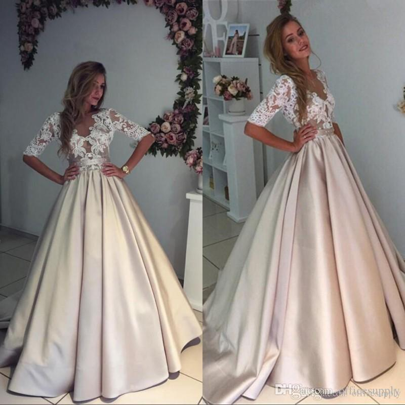 2d0ae68eb98 Discount Elegant Puffy Illusion Ivory Appliques Lace Wedding Dress 2019 V  Neck Half Sleeves A Line Vintage Bridal Gowns Low Cost Wedding Dresses  Photos Of ...