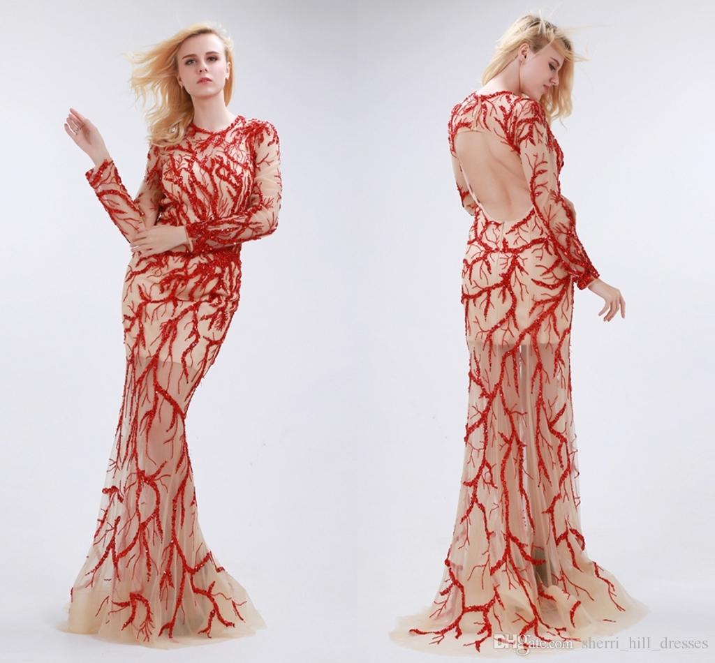 cab204556 Roupas Para Festas Personalizado Longo Sleeved Sereia Vestidos De Baile  Sexy Backless Peixe Cauda Tormal Vestidos De Noite Gaze Bordado Contas  Passarela ...