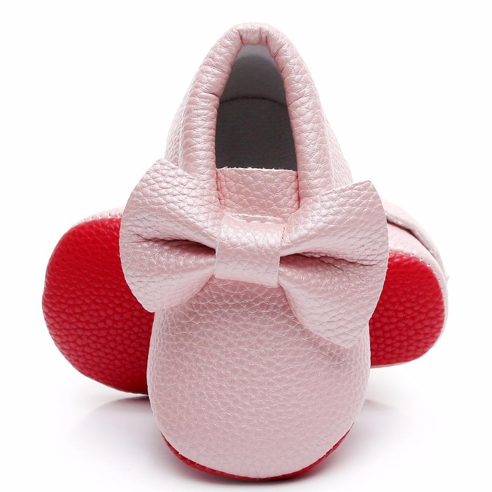 552958b8e41d5 Red Sole Newborn Baby Girl Boy Baby Moccasins PU Leather Soft Moccs Shoes  Bow-tie Infant Soft Soled Non-slip Footwear Crib Shoe First Walkers Cheap  First ...
