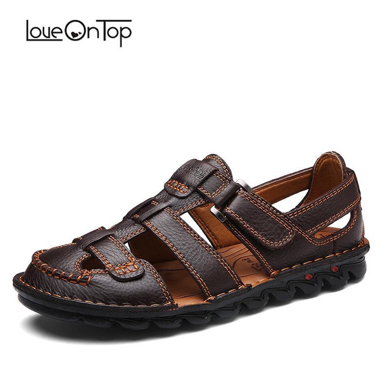 a02e08e5415 Loveontop Sandals Men Summer Classics Handmade Genuine Leather Men S Casual  Sandals Hook And Loop Beach Plus Size Man Shoes Pink Shoes Salt Water  Sandals ...