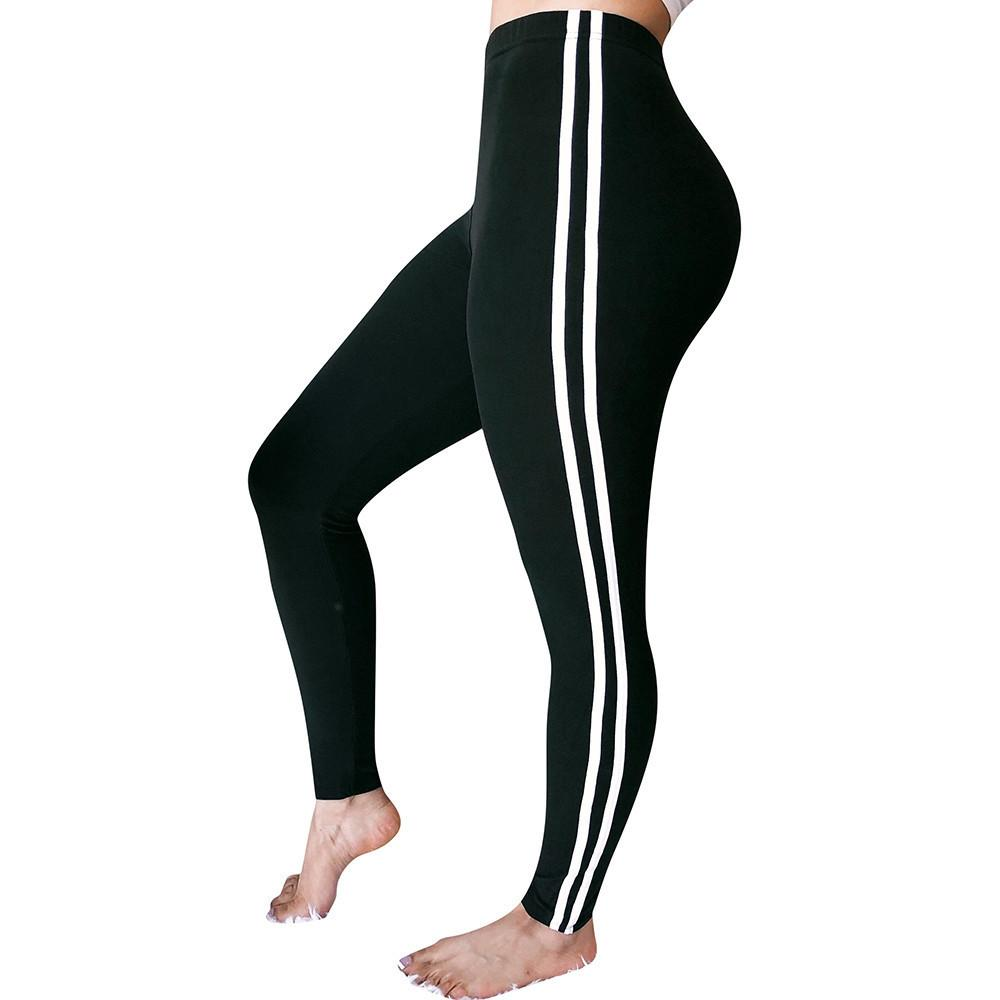 b277bac4786c98 2019 Womens Solid Color Mid Waist Striped Trousers Ladies Drawstring Pencil  Pants Two Striped Sports Running Athletic Leggings Pants From Happy_sport,  ...