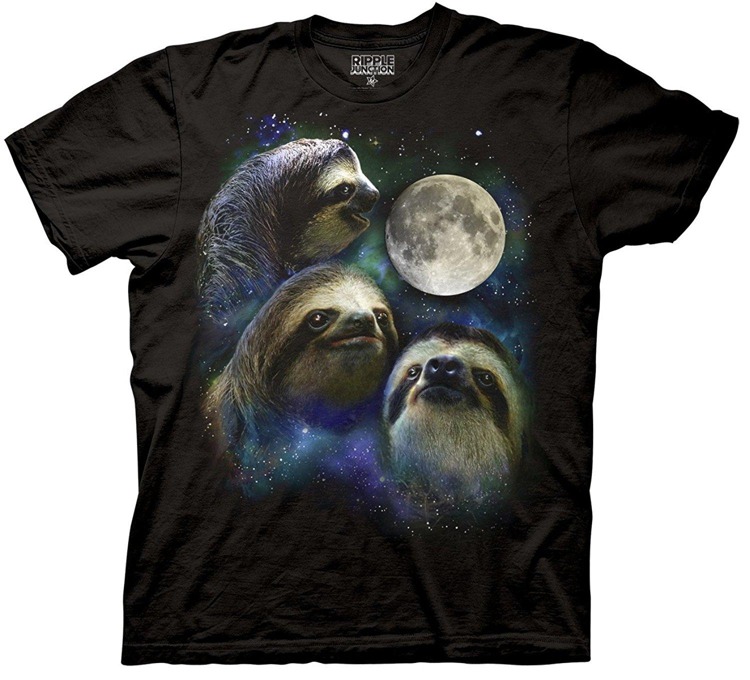 Wholesale Discount Three Wholesale Discount Shirt Parody - Three Sloth Moon Shirt - 100% Cotton T-shirt Tee