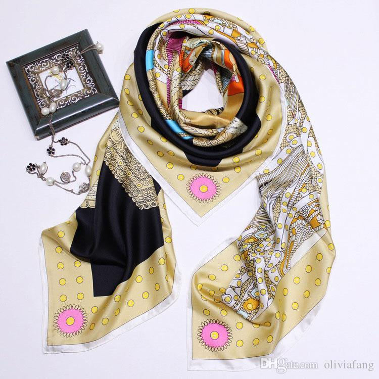 2019 Women Luxury Scarves 132*132cm Horse Print Real Silk Scarves And Shawls Wraps Hijabs Pashmina Beach Beach Coverup Fashion Muffler Femal