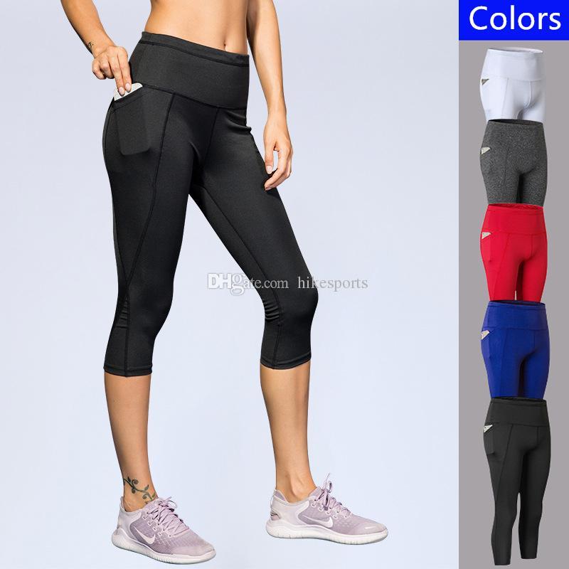 200a4bd58b 2018 Women Yoga Pants Sides Pockets Sports Running Tight Pant