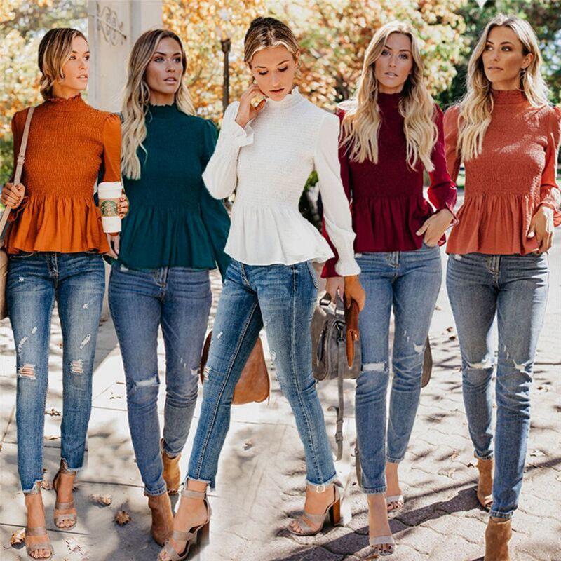 Manches Style Femmes À Blanc Longues Chemise En De Soie Printemps Nouveaux Chemises Rouge Volants Automne Blouse Noir Mousseline Haut Col SUMzGpqV