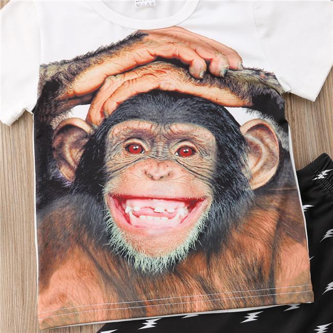 ملابس الطفل طفل أطفال الطفل الأولاد ملابس Pritn القرد تي شيرت بلايز + سروال زهري تتسابق مجموعة 1-5T