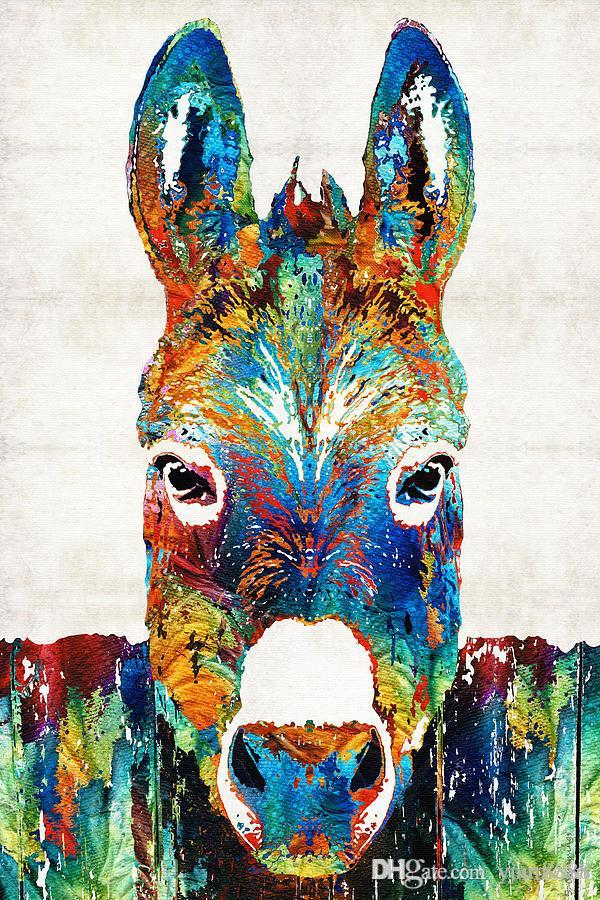 -colorful-donkey-art-mr-personality-Unframed Modern Canvas Wall Art for Home and Office Decoration,Painting ,Animal painting ,Frame painting