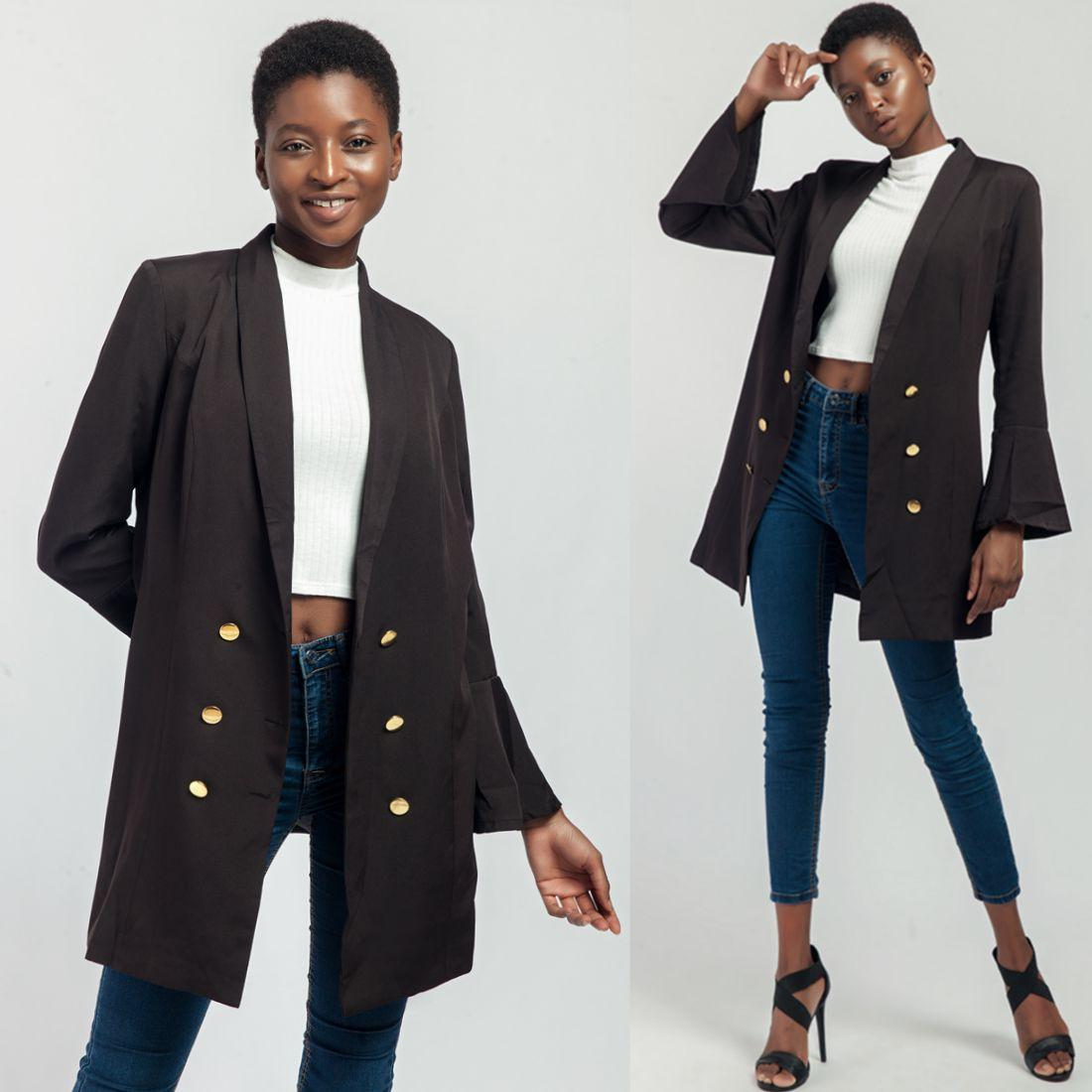 a1feab534b647 Office Coat For Women Flare Sleeve High Quality Black Double Breasted Mid  Length Office Work Wear Simple Elegant Lady Outwear Coats 8813 Winter  Jackets Jean ...