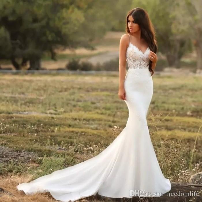 4d3f70286f81 2019 Simple Mermaid Wedding Dresses With Lace Appliques Spaghetti Strap  Backless Illusion Cheap Bridal Gowns Beach Robe De Mariee Sexy Lace Mermaid  Wedding ...