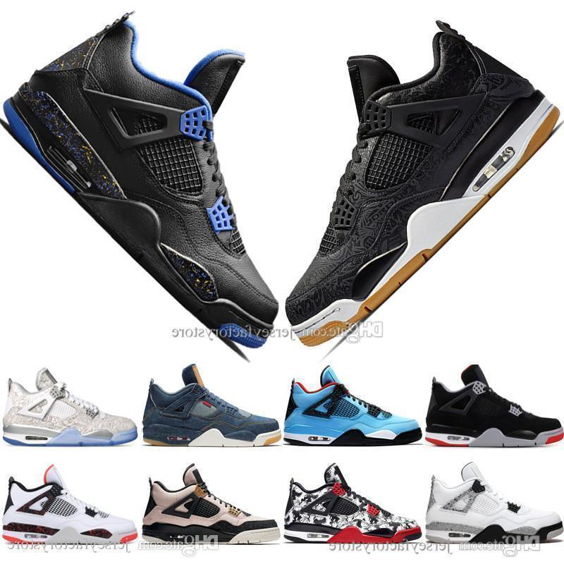 Newest Athletic Bred 4 4s What The Cactus Jack Laser Wings Mens Basketball Shoes Denim Blue Pale Citron Men Sports Designer Sneakers 36-47