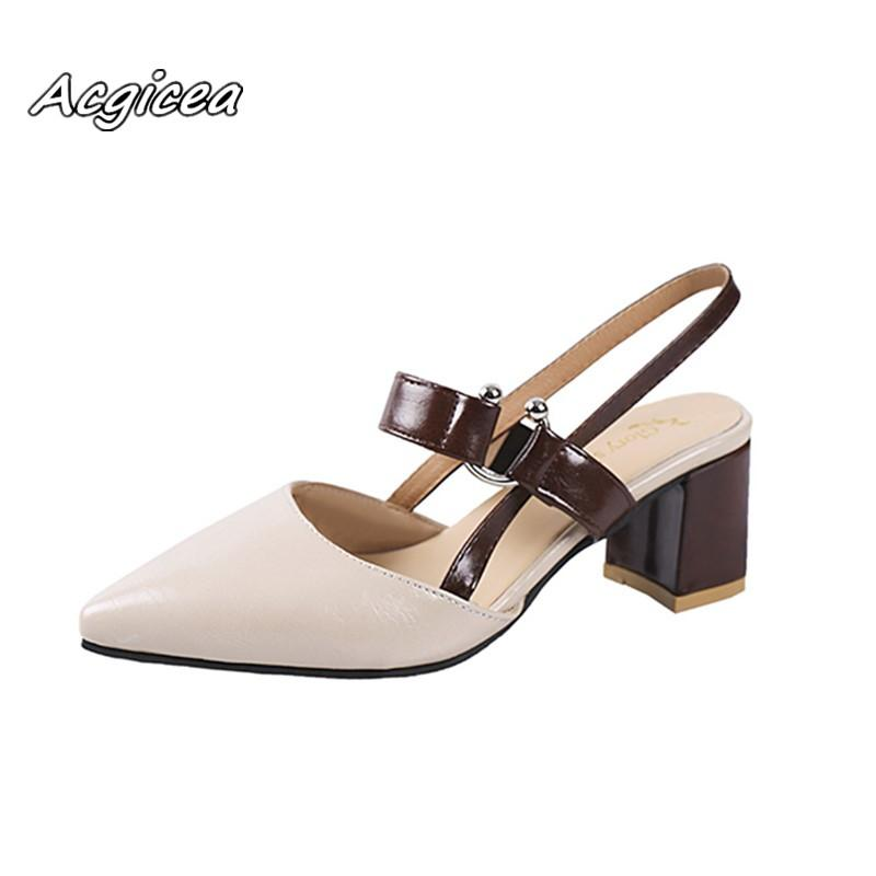 793294b65a8 2019 2019 Spring New Hollow Coarse Sandals High Heeled Shallow Mouth Pointed  Baotou Shoes Work Shoes Women Female Sexy High Heels X21 Cheap Heels  Comfort ...