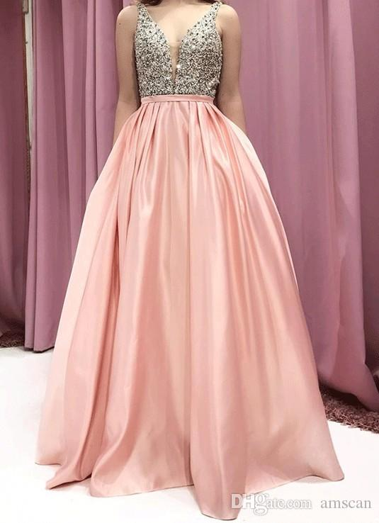 62491a8f803f3 Blush A Line Prom Dresses 2019 Sexy Deep V Neck Long Evening Gowns Sparkly  Beaded Formal Party Dresses For Women Pageant Celebrirty Gowns Long Gowns  Pink ...