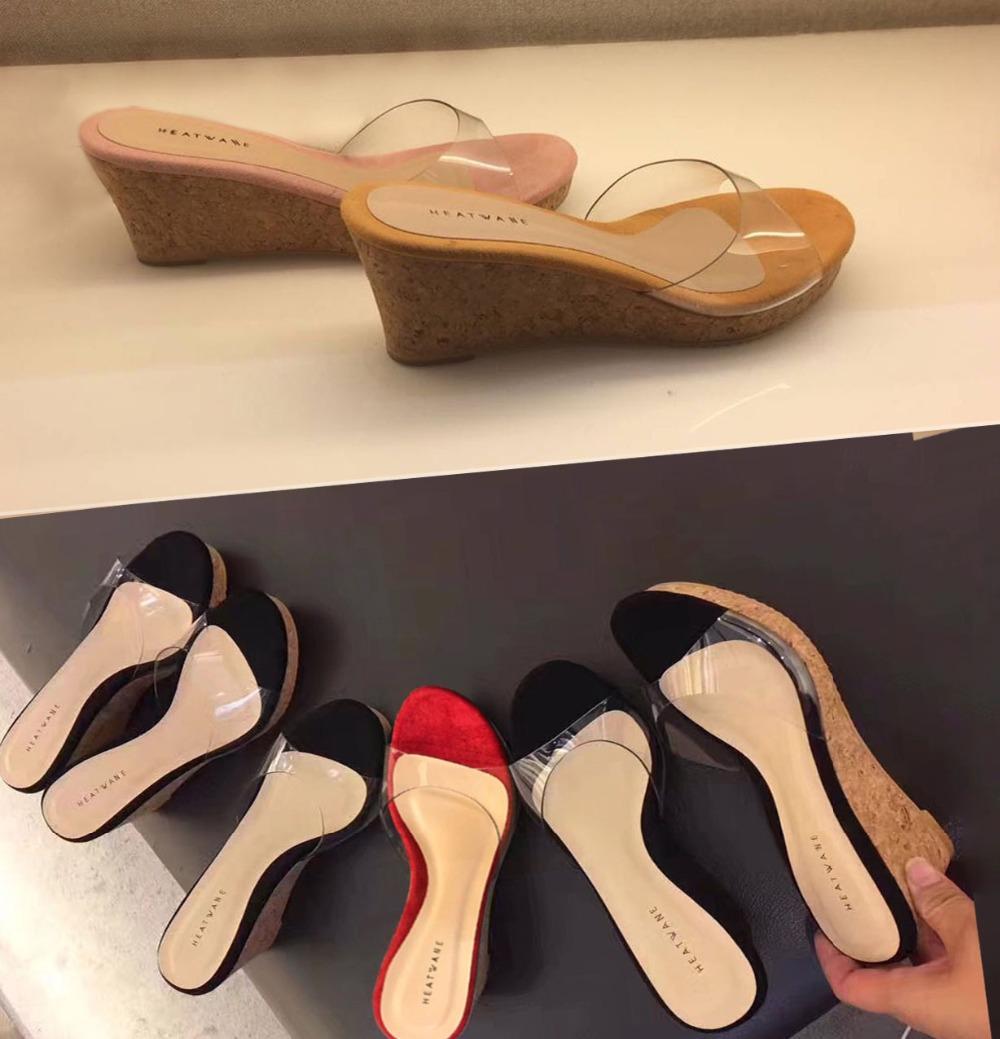 2019 HOT D été Pantoufles Femmes Transparent Paillettes Plateforme Wedge Semelle Épaisse Haute Talons 6.5 CM Mules Diapositives Doux Chaussures De