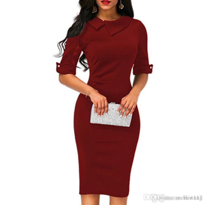 Wholesale new ladies lapel straight dress autumn short-sleeved knee-length dress dark blue red party dress vestidos