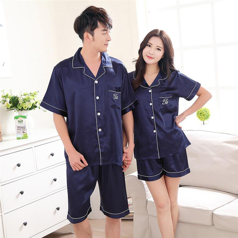 2019 2019 Summer Couples Loose Thin Pajamas Sets For Women Shorts Pyjamas  Casual Men Sleepwear Lounge Homewear Home Nightwear  40 From Buttonhole beb48a022