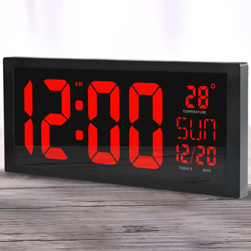 Wall Clocks Large screen big Electronic wall desktop LED Digital Calendar clock thermometer Daylight saving for kitchen clock mural