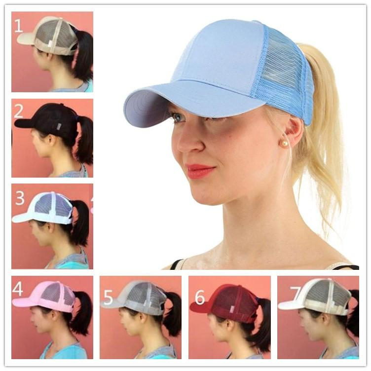 3d4805d1d Women Girls Ponytail Ball Cap Messy Bun Trucker Ponycap Plain Baseball  Visor Cap Ponytail Snapbacks Basketball Hats Back Hole Pony Tail