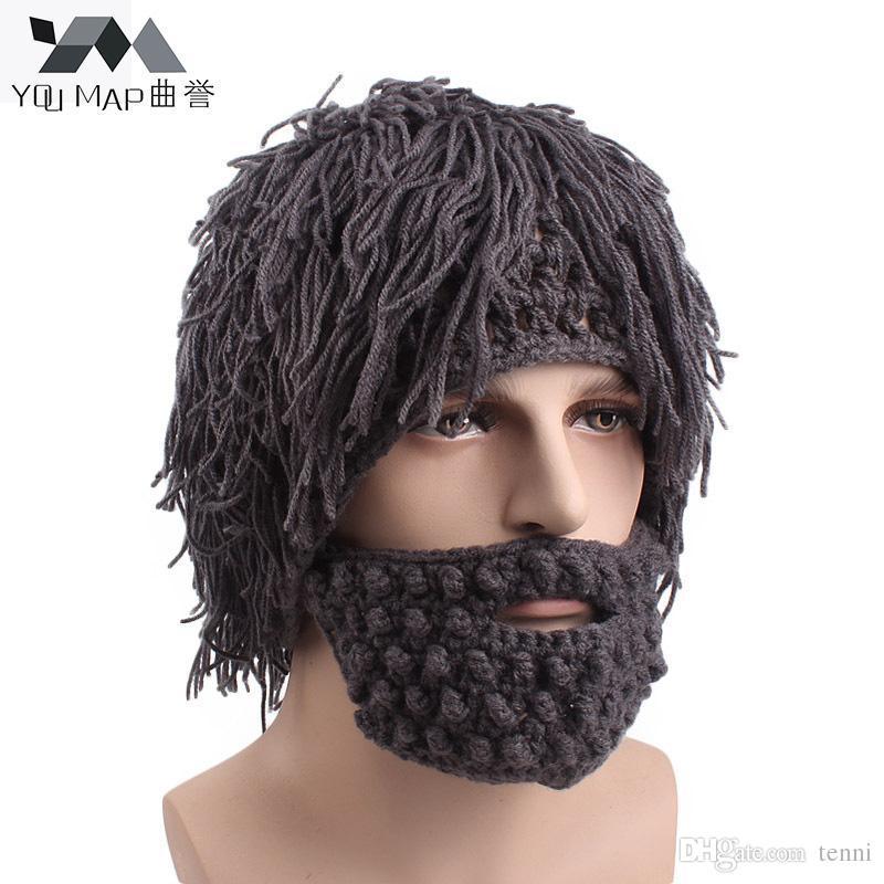 Acheter Nouveau 2018 Hommes Hiver Main Armure Barbe Visage Masque Original  Savage Tricotage Cagoule Drôle Chapeau Chaud Bonnet Homme Chapeaux Carnival  Cap ... 5d5b6292a44