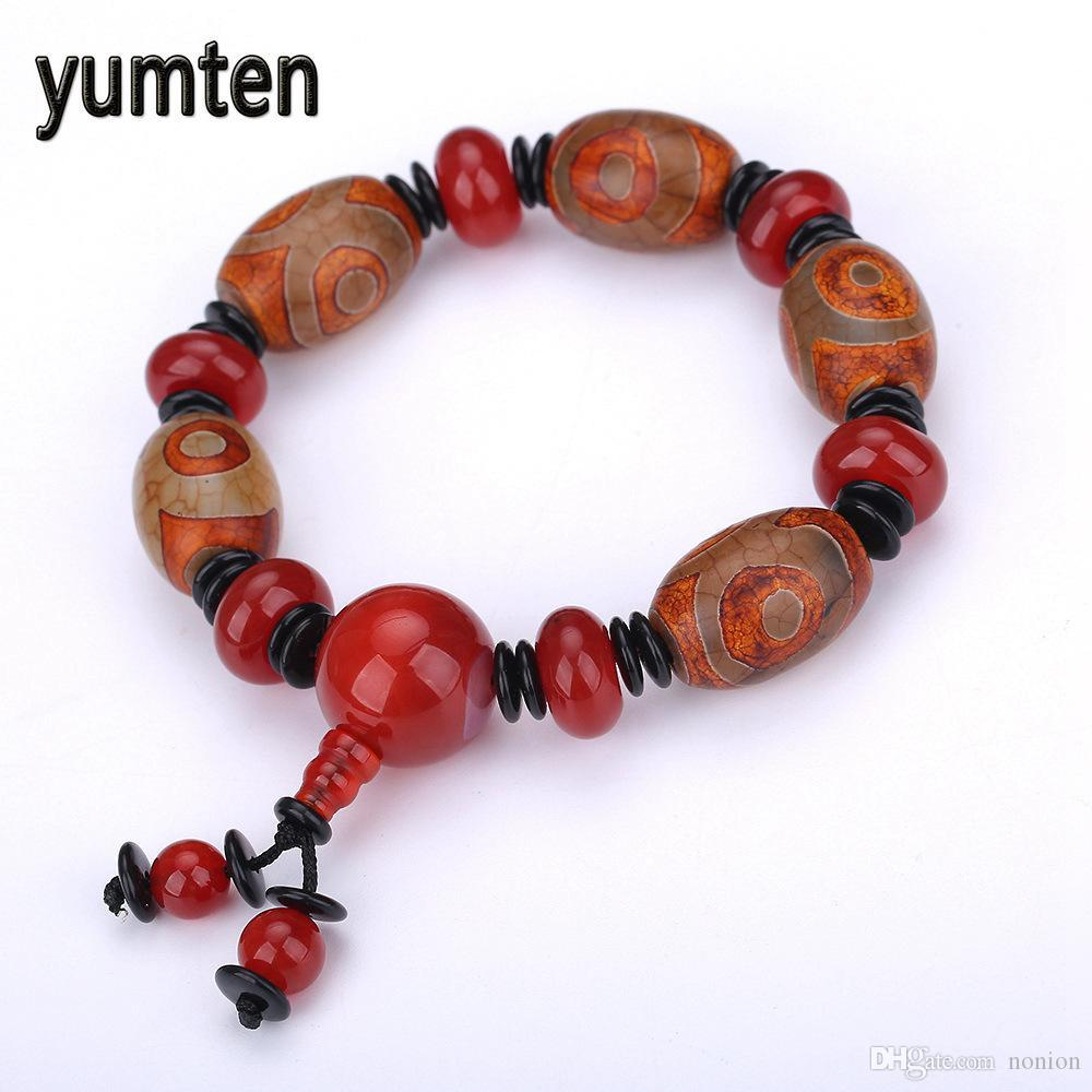 2018 Natural Agate Bracciale Uomo Bracciale Agata naturale Coppia Fashion Party Jewelry Rosso Crackle Jewelry Gift