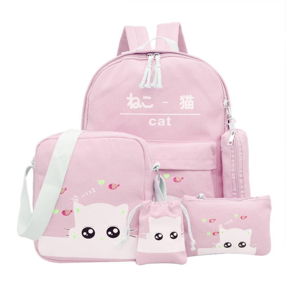f41635173f Canvas School Bag /Pc Backpack Women Cat Printing Bagpack School Bags For Teenager  Girls 2018 Preppy Rucksack Cute Sac A Dos Backpacks For Men Jansport Big ...
