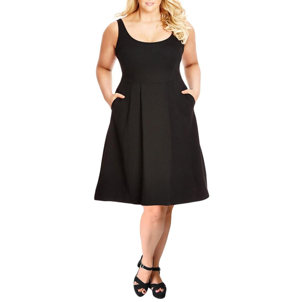 Women 6XL 7XL 8XL Plus Size Tank Dress Solid Pockets Swing Summer Dress  A-Line Casual Midi A-line Dress Black/Burgundy Vestidos