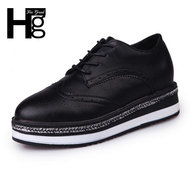 b34ecbdc878 Designer Dress Shoes HEE GRAND Women Brogue Spring Autumn Mid Heels Black  Wedge Platform Lace Up Oxfords For Women Size 35 39 XWD6065 Shoe Boat Shoes  From ...