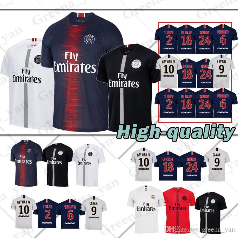 buy online ee7e6 1395b promotion New 10 PSG 7 MBAPPE Home Soccer Jersey 9 CAVANI Paris Saint  Germain 18/19 blue Soccer Shirt Kid's men women Football jerseys