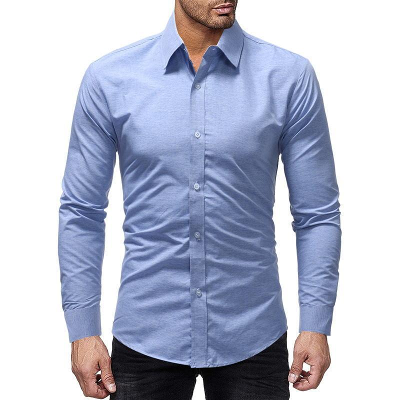 2efd19827586 2019 2019 Men Fashion Casual Long Sleeved Solid Color Shirt Slim Fit Male  Social Business Dress Shirt Brand Men Clothing Comfortable From  Godbless010, ...
