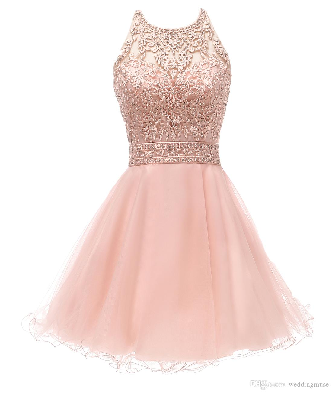 57efb5d67bb New Blush Short Prom Dresses Halter Lace Appliques Beaded A Line Ruffles  Skirt Criss Cross Back Homecoming Dress Graduation Prom Gown Strapless  Homecoming ...