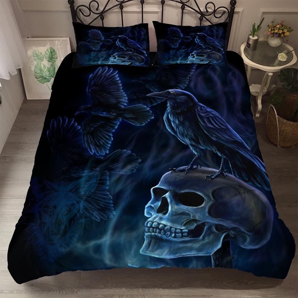 suger skull crow realistic 3d duvet cover set usa king queen full twin size uk single bed linen set