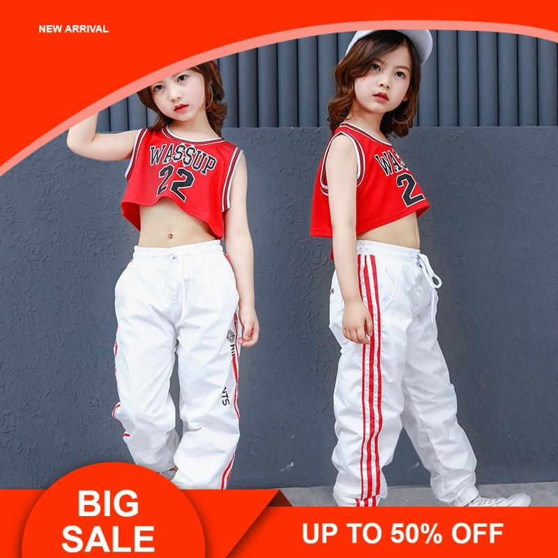 c5f359f0ceeb 2019 Girls Crop Tank Top Sleeveless And White Pant Two Pieces Jazz Hip Hop  Dance Clothes For Kids Teen Girls Summer Sport Suits From Anglestore, ...