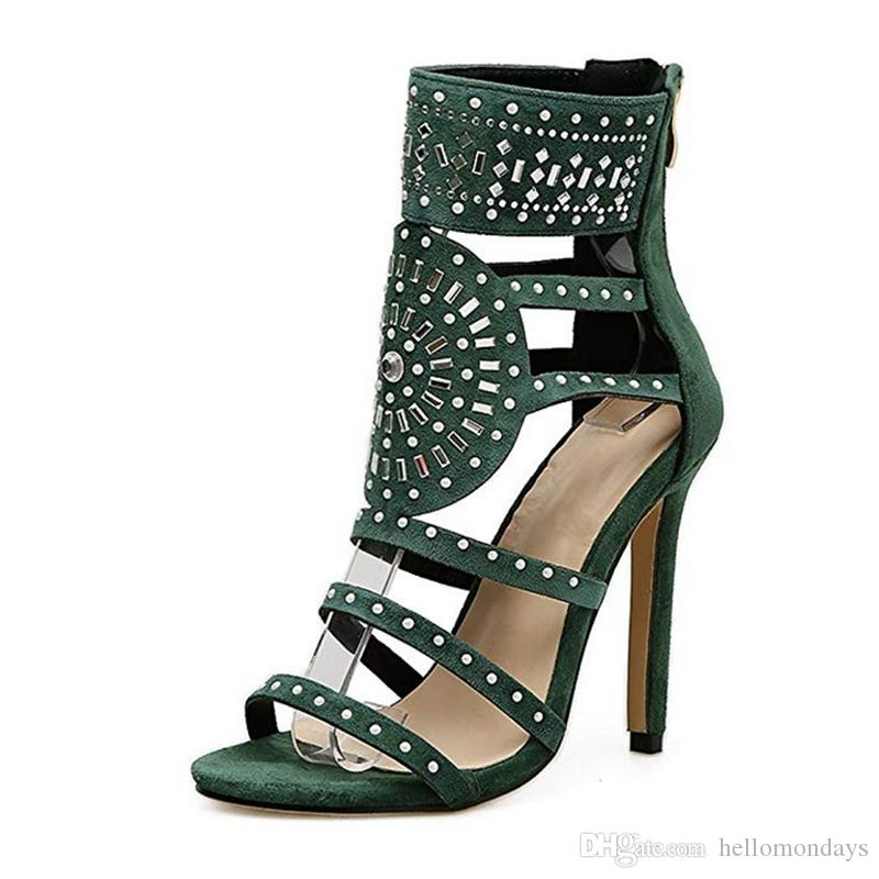 f6339f161f1 Womens Open Toe Strappy Stiletto High Heel Rhinestone Sandals Velvet  Crystal Gladiator Cut Out Heel Sandal Wholesale Shoes Black Shoes From  Hellomondays