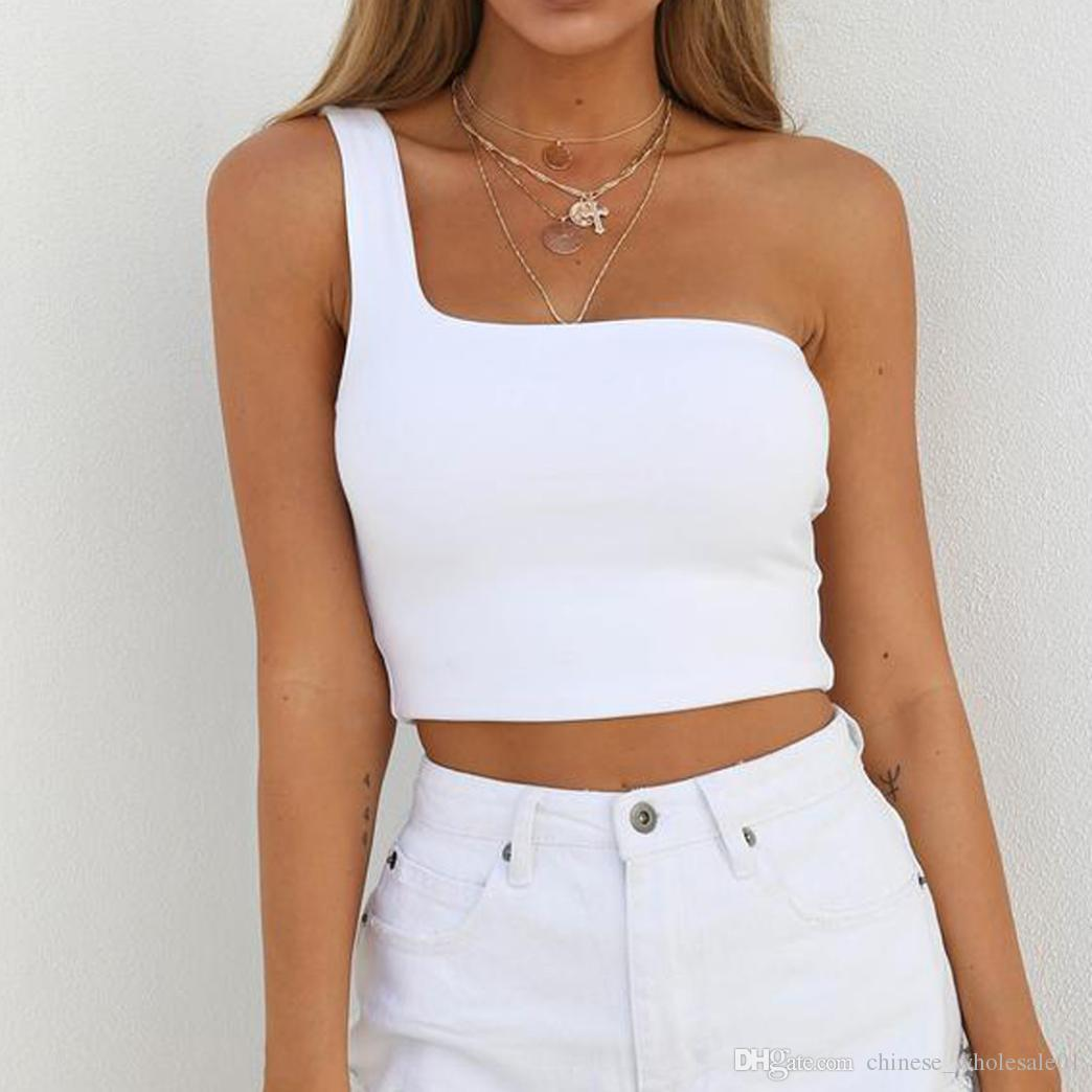 b66542cd3d6 2019 Home Clothing Women Lady Female One Shoulder Crop Tops ...